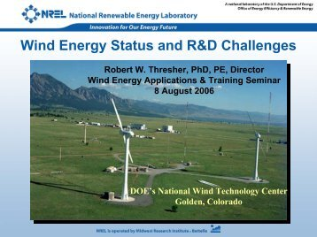 Wind Energy Status and R&D Challenges - EERE - U.S. Department ...