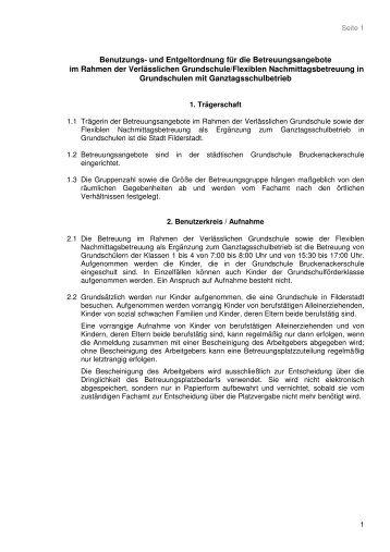 Benutzungs- und Entgeltordnung VG-FlexNachm ... - Stadt Filderstadt