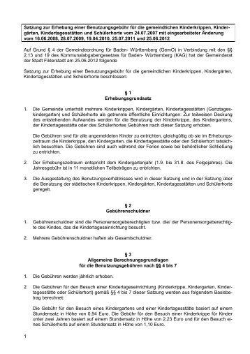 Satzung zur Erhebung einer Benutzungsgebühr ... - Stadt Filderstadt