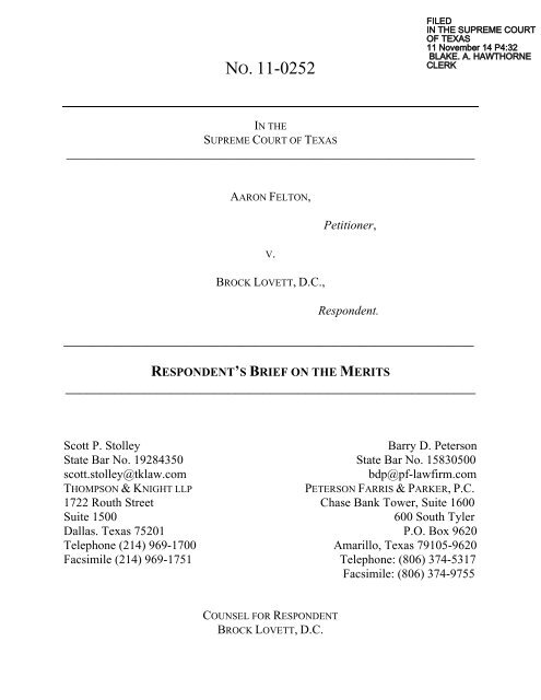 Respondent's Brief on the Merits - Supreme Court of Texas
