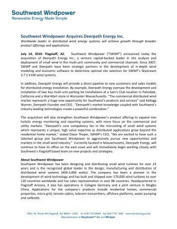Southwest Windpower Acquires Deerpath Energy Inc - RockPort ...