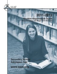 2011-2012 Student Registration Guide - SSAT