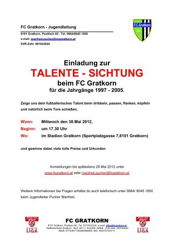 Einladung zur TALENTE - SICHTUNG beim FC Gratkorn für die - StFV