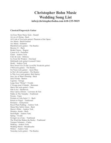 music list for wedding
