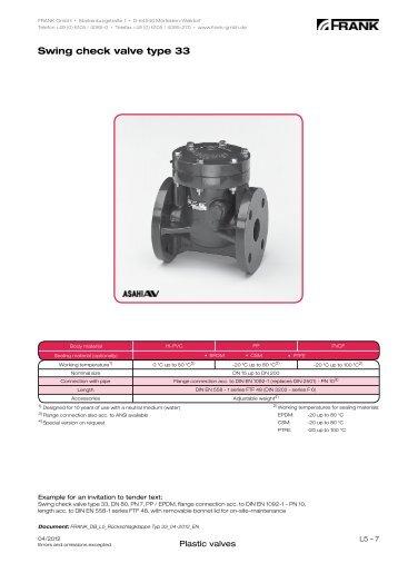 Swing check valve type 33 - Frank GmbH