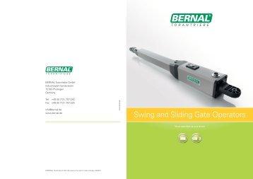 Swing and Sliding Gate Operators - BERNAL Torantriebe GmbH