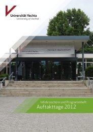 Die Infobroschüre der Auftakttage 2012 finden ... - Universität Vechta
