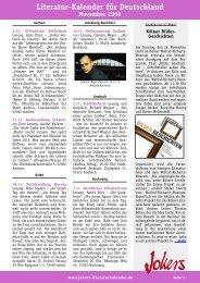 Literatur-Kalender für Deutschland November 2006