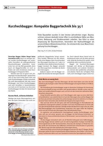 Kurzheckbagger: Kompakte Baggertechnik bis 35 t - Bauverlag