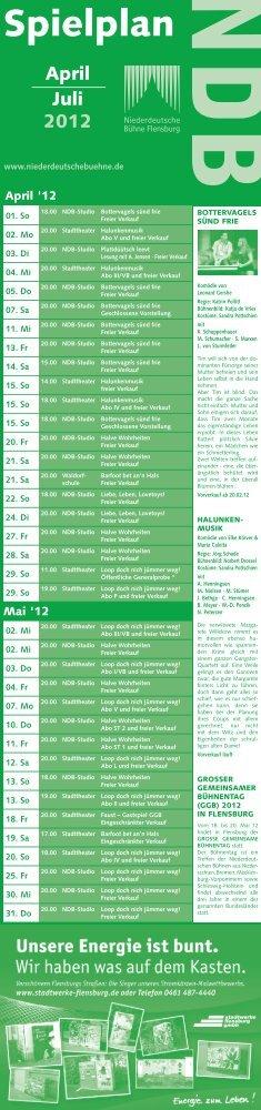 Spielplan - Niederdeutsche Buehne Flensburg