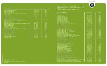 Tilbehørsprisliste pr. 1. marts 2011 - skoda.dk