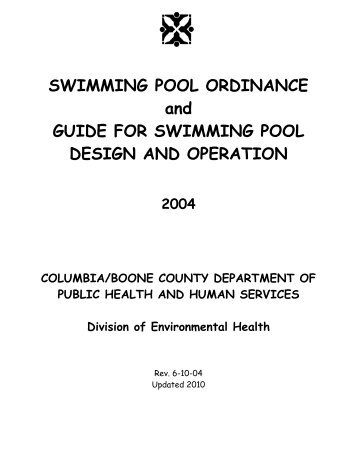 Swimming Pool Ordinance And Guide For Swimming Pool - City of ...