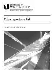 LCM Exams - tuba grades repertoire list - University of West London