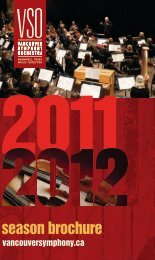 2011/2012 Season Brochure - Vancouver Symphony Orchestra