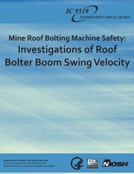Mine Roof Bolting Machine Safety - Centers for Disease Control and ...