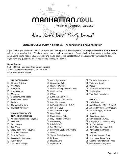 Song Request Form Select 65 75 Songs Manhattan Soul