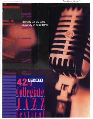 Notre Dame Collegiate Jazz Festival Program, 2000 - Archives ...