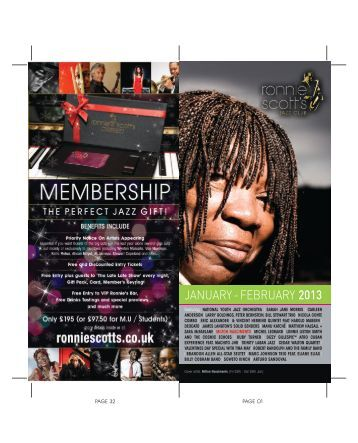 JANUARY - FEBRUARY 2013 - Ronnie Scott's Jazz Club