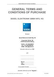 GENERAL TERMS AND CONDITIONS OF PURCHASE - Seidel