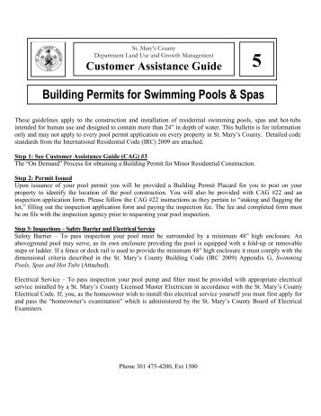 Building Permits for Swimming Pools & Spas - St. Marys County