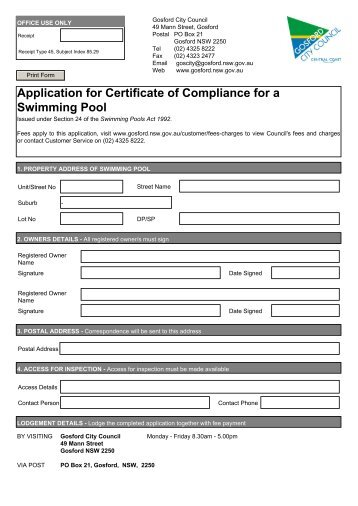 Swimming Pool Compliance Certificate Form Cowra Council
