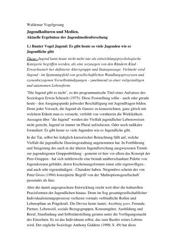 Jugendkulturen und Medien. - von Dr. Waldemar Vogelgesang