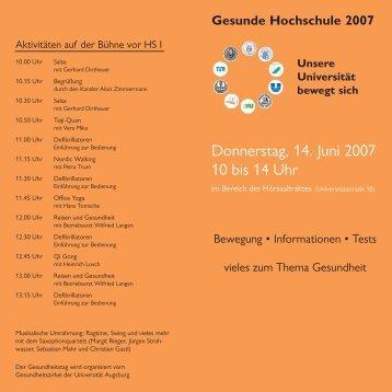 Flyer ohne Druck - Universität Augsburg