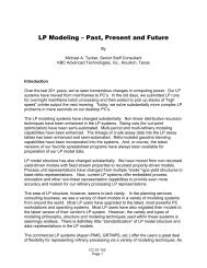 LP Modeling - Past, Present and Future