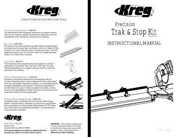 INSTRUCTIONAL MANUAL   Kreg Tool