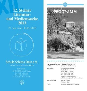 Literatur- und Medienwoche 2013 - Schule Schloss Stein