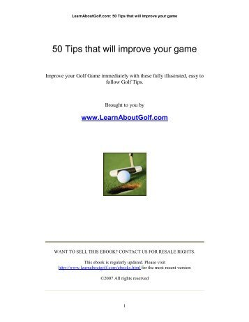 50 Tips that will improve your game