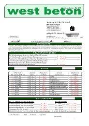 w w w . w e s t b e t o n . a t  gültig ab 01. Jänner 2003 ANGEBOT ...