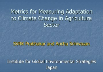 Metrics for Measuring Adaptation to Climate Change in Agriculture ...