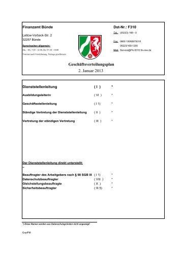 Geschäftsverteilungsplan 2. Januar 2013 - Finanzamt Bünde