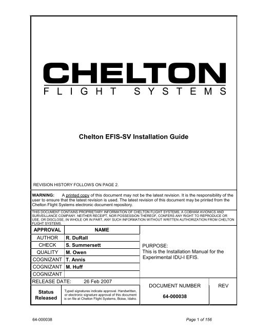 Chelton EFIS-SV Installation Guide on