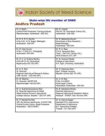 Andhra Pradesh - isws.org.in