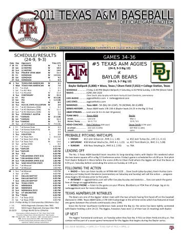 2011 TEXAS A&M BASEBALL