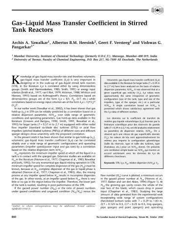 Gas-Liquid Mass Transfer Coefficient in Stirred Tank Reactors - ITM