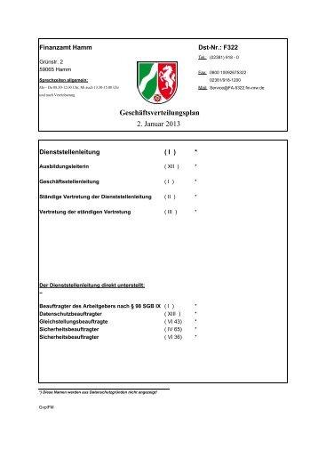 Geschäftsverteilungsplan 2. Januar 2013 - Finanzamt Hamm