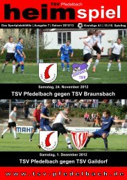 7. Heft gegen TSV Braunsbach und TSV Gaildorf - TSV Pfedelbach