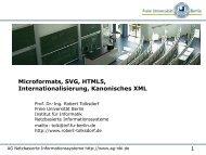 Microformats, SVG, HTML5, Internationalisierung, Kanonisches XML