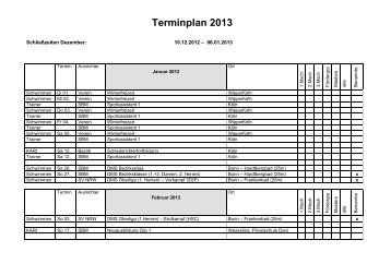 Terminplan 2013 - Schwimm-Club Hardtberg 1968 e.V.