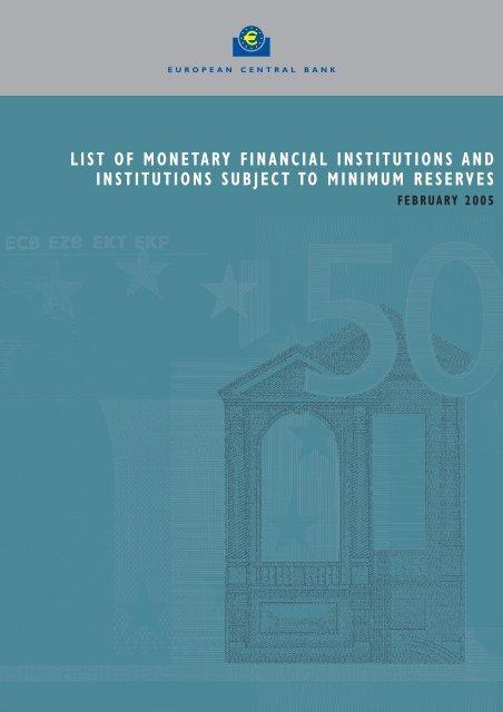 List Of Monetary Financial Institutions And Suomen Pankki