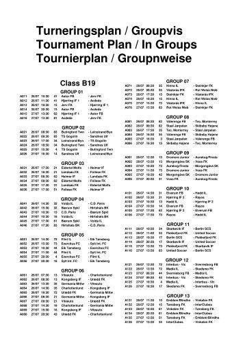 Turneringsplan / Groupvis Tournament Plan / In Groups ... - Home