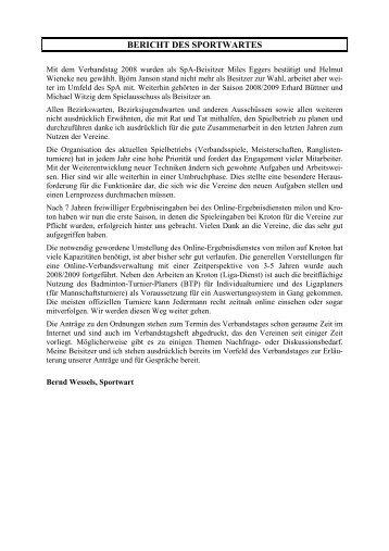 BERICHT DES SPORTWARTES - (BLV-NRW) www