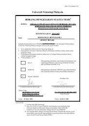 Universiti Teknologi Malaysia BORANG PENGESAHAN ... - UTM