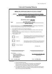 Universiti Teknologi Malaysia BORANG PENGESAHAN STATUS ...