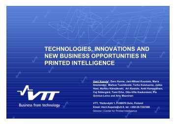 Technologies, innovations and new business opportunities in ... - VTT