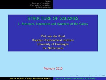 STRUCTURE OF GALAXIES - 1. Structure, kinematics and dynamics ...