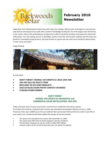 February 2010 Newsletter.pdf - Backwoods Solar Electric Systems